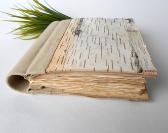 Travel journal- Vintage style journal with birch bark hardcovers and linen fabric spine- 120 coffee colored pages-rustic birch sketchbook