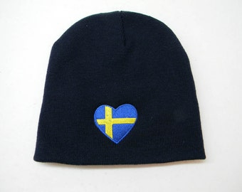 Scandinavian Swedish or Finnish Heart Flag on Navy Blue Knit Hat