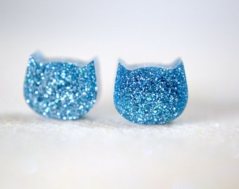 Steel Blue Glitter Cat earrings, Resin earrings , Surgical Steel Nickel Free Earrings