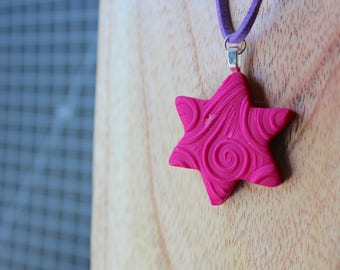 Fuchsia pattern stamped Star Of David necklace