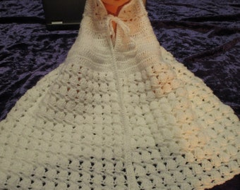 Vintage Baby Crocheted Hooded Baby Cape