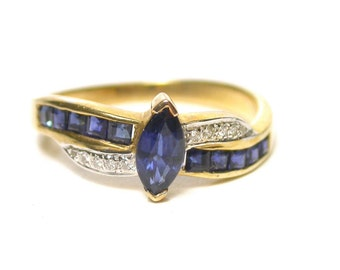 Vintage Natural Blue Sapphire Diamond Ring - 14K Yellow Gold Marquee Sapphire and Diamonds Ring - Size 6 1/2 - September Birthstone # 1384