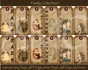 Primitive Vintage Family Image Printable Hang Tags for Scrapbooking Art