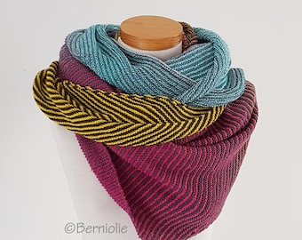 Knitted shawl, yellow, blue, pink  Q573