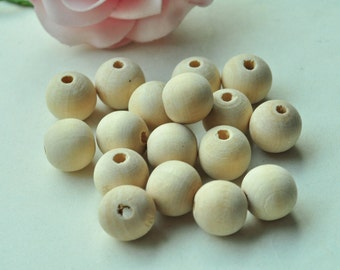 40pcs 14mm Natural Wood Beads Unfinished Spacer Beads Round Ball Bead - No Varnish & No Lacquer MT288
