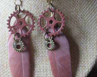 "steampunk gears ""1"" with feather earrings"