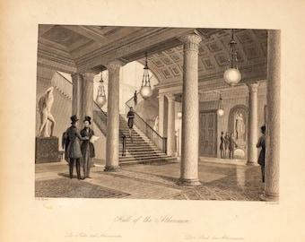 W. Radclyffe, Hall of the Athenaum, Vintage Engraving, 19th century