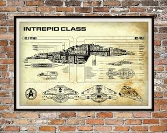 Star Trek Voyager Blueprint Art of Intrepid USS Voyager Class Technical Drawings Engineering Drawings Patent Blue Print Art Item 0100B