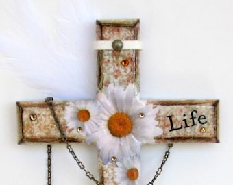 Decoupaged Wall Cross Catholic Gift Crucifix Christian Art White Daisies Religious Art Word Life Easter Gift Mothers Day Gift