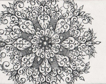 Reproduction ACEO Black and White Snowflake 1