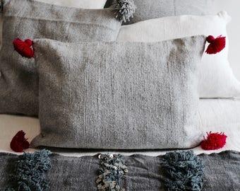 Pom Pom cushion grey