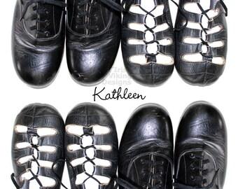 Irish Dance, personalized print, dancing shoes art, ghillies, hard shoe, Irish dancer gift, studio decor, black and white, Irish dancing
