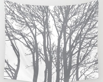 Woodland Trees Tapestry / Modern Gray Trees Wall Tapestry / Gray and Cream / Aldari Home