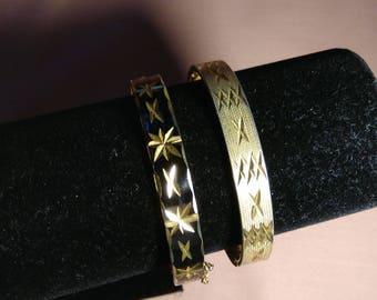 2 Vintage Bangles, 1 18K Gold Plated, 1 Gold Tone Black Enamel.