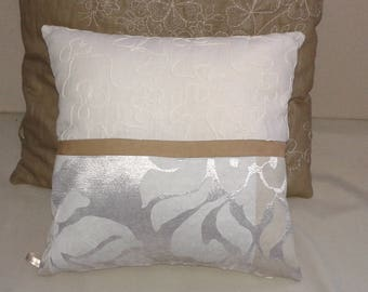 Cushion decorative linen suede and precious fabric 35 x 35 cm