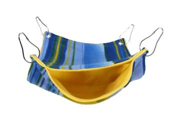 Ferret hammock, Rat hammock, Bunk Bed Hammock, Blue and Yellow Stripes Fleece - cage accessories, hammock set, small animal bedding