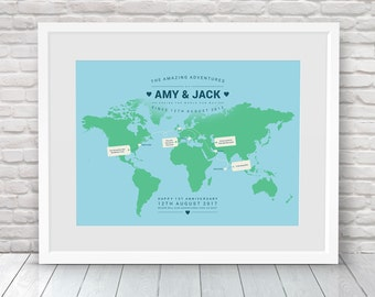 Places we've been map, Our travels map, World travel map, Where we met map, Where we've been together map, 1st anniversary gift, 40 birthday