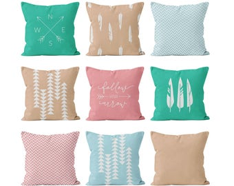 Feathers and Arrows Pillow Covers Set Mix and Match, Pink Turquoise Boho Chic Pillow Covers Set, Pink Blue Bohemian Decor Pillow Covers
