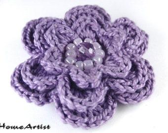 CROCHETED Flower HAIR CLIP or APPLIQUE