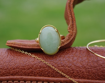 Aventurine gold ring