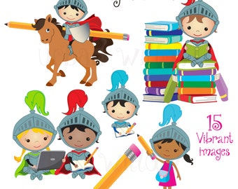 Knight School - 15 piece clip art set for small commercial and personal use. Png & Jpeg files. Instant Download.