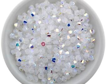 White Opal AB (3mm & 4mm) Swarovski Crystal 5328 Xilion Bicones