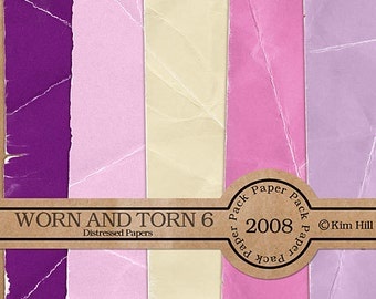 Digital Scrapbook Paper - Worn & Torn Paper Pack 6 - distressed pink paper, purple paper, yellow paper for digital scrapbook layouts