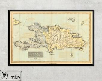 Wall map of Haiti, Haiti map, Antique Haiti print, Saint Domingo - Interior design, Home decor - 132