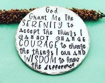 Serenity Prayer, Serenity Medallion, Sobriety Gift, God Grant Me Serenity, Sobriety Coin, Serenity Courage Wisdom, Recovery Gifts, AA, NA