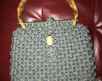 Handmade wood handle purse