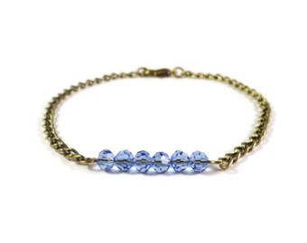 Periwinkle Blue Bracelet, Crystal Bar Bracelet, Dainty Bracelet, Gifts for Wives, Gifts for Her, Holiday Jewelry Gifts, Gifts for Girlfriend