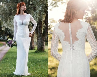Lace Wedding Dress - Bohemian Wedding Dress - Illusion Wedding Dress - Long Sleeve Wedding Dress - Boho Wedding Dress - Wedding Dress
