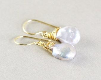 Gray Pearl Dangle Earrings, Pearl Drop Earrings, June Birthstone