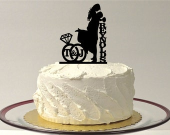 MADE In USA, Personalized Wedding Cake Topper With YOUR Family Last Name + Initials of the Bride & Groom, Wedding Ring Design Silhouette