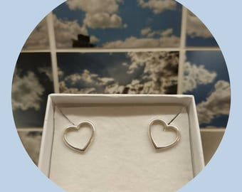 Open Heart Studs, Love Heart Earrings sterling silver
