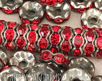 8mm Czech Glass Rhinestone Rondelle Spacer Beads (20) Aged Silver Red - Wavy Edge - Vintage Shabby Bohemian Style - Central Coast Charms