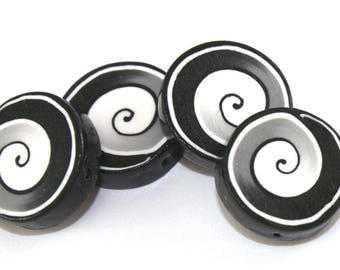 Round spiral jewelry pendant beads, DIY jewelry gift craft supplies, black and white jewelry polymer clay beads for bracelet necklace, 6 pcs