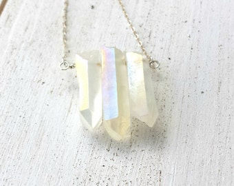 Celestial Jewelry, Angel Aura Crystal Bar Necklace, Raw Crystal Necklace, Angel Aura Quartz, Crystal Jewelry, Healing Jewelry, Gift For Her