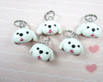 Maltese dog Stitch markers set of 5 polymer clay dog, knitting accessories, knit, gift for knitters, gift for her, dog gift, dog charm, cute