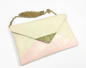 Evening bag off-white and pastel powder pink wedding glitter gold chain - bridesmaids clutch