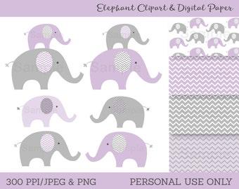 Cute Purple Elephant Clipart / Digital Paper / Elephant Baby Shower / Chevron Pattern / Purple & Grey / PERSONAL USE Instant Download A199