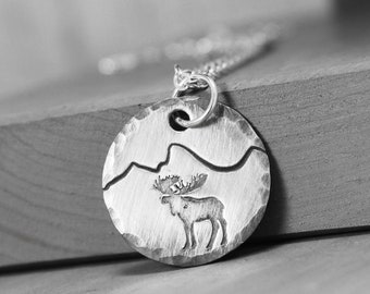 Moose Necklace - Mountains Necklace - Tetons Necklace