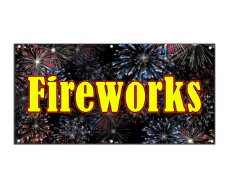 Fireworks Vinyl Single Sided Banner with Grommets