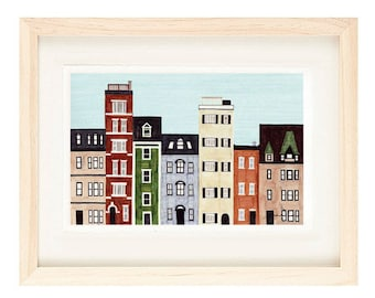 BOSTON, MASSACHUSETTS - New England, Back Bay, Brownstones, Historical Buildings, Row Houses, Colorful Illustration Art Print 11 x 17