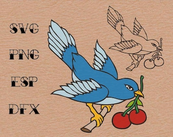 Old school Tattoo  Swallow Cherry , SVG,vector,clipart,
