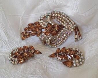 Vintage Juliana D & E Brooch Pin Earring Set Champagne Rhinestones