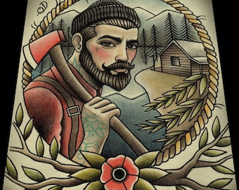 "Lumberjack Tattoo Art Print 11""x13"""