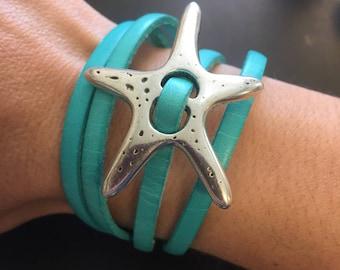 Starfish Leather Wrap Bracelet - Leather Bracelet - Magnetic Clasp Leather Wrap