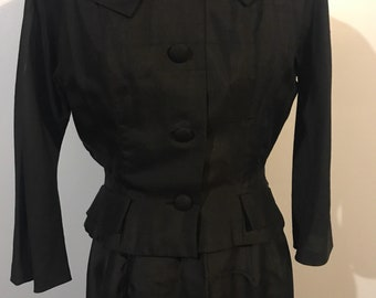 THE 1950s wiggle suit. Black. Silk. Gorgeous.