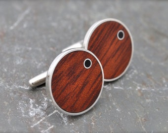 Punto - Rosewood Cufflinks with Coyol Circle Inlay